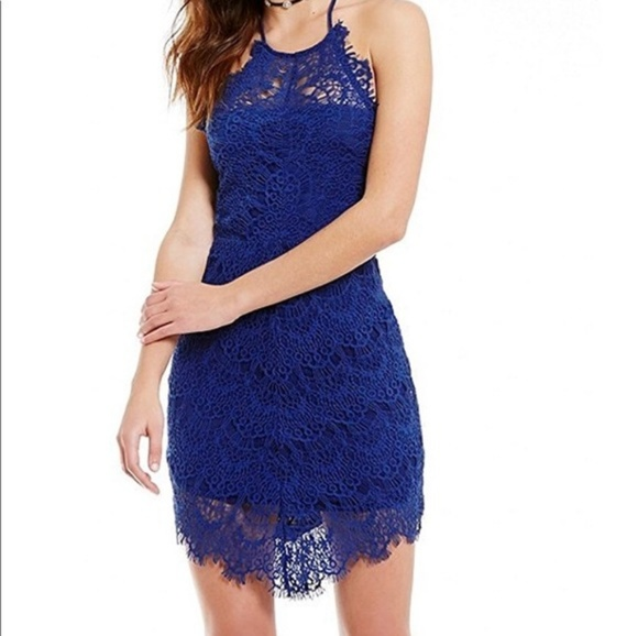 Free People Dresses & Skirts - Free People Blue She's Got This Lace Sheath Dress